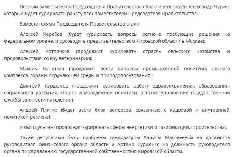 Утверждён новый состав правительства Кировской области
