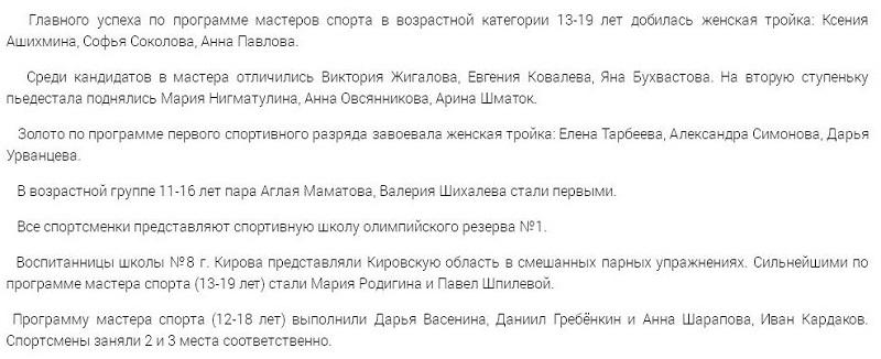 Кировские спортсмены взяли 5 золотых наград всероссийского турнира по акробатике
