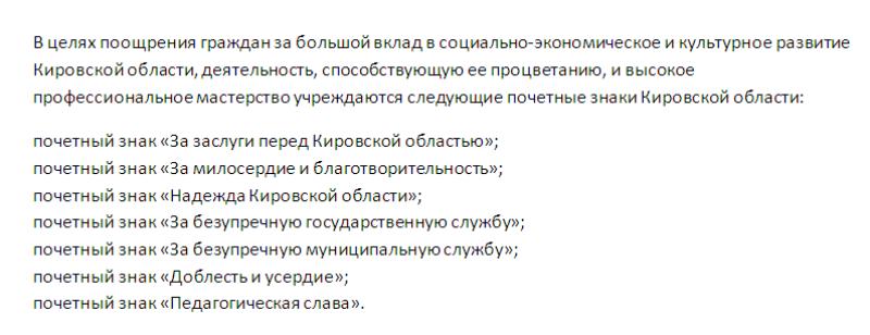 В Кирове вручат госнаграды и почётные знаки