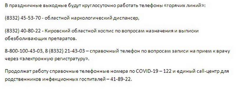 О том, как в праздничные дни будут работать медучреждения Кирова